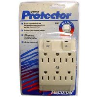 Recoton 6 Plug Outlet Cover Surge Protector